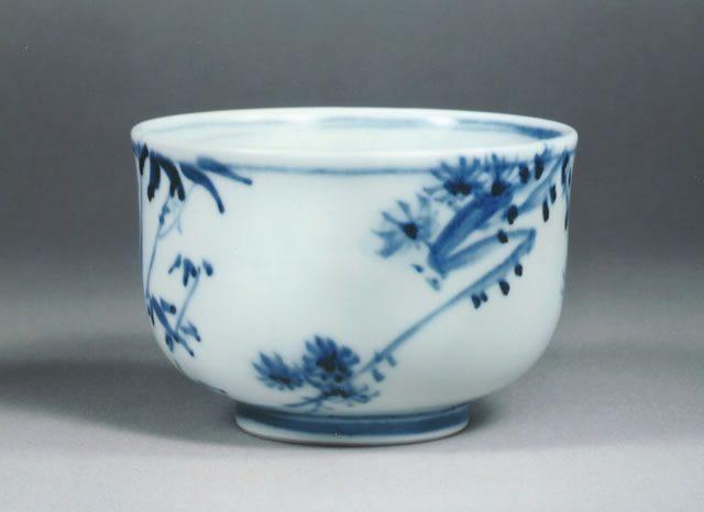 荒川豊藏 作  「染付松竹梅絵茶碗」
