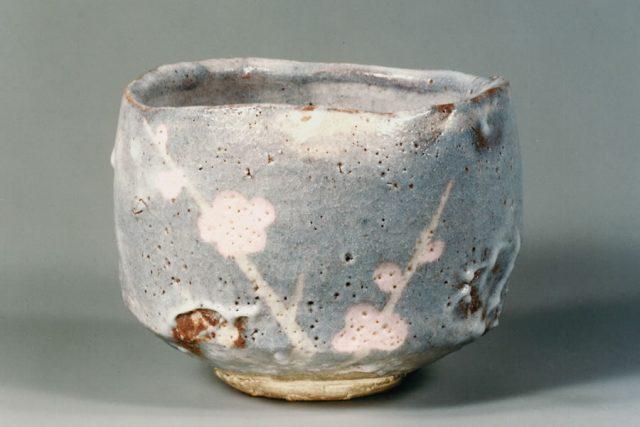 「鼠志野梅絵茶碗」 昭和33~34年 64~65歳